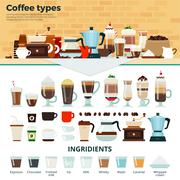 Different coffee on the table - stock illustration