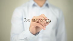 Job Descriptions , Man writing on transparent screen Stock Footage