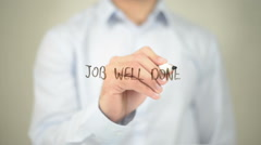 Job Well Done , Man writing on transparent screen Stock Footage