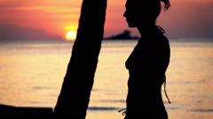Silhouette of people walking on beach during sunset, super slow motion 240fps Stock Footage