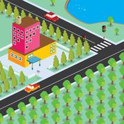 isometric residential view cartoon theme - stock illustration