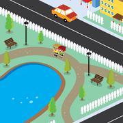 Isometric couple residential view cartoon theme Stock Illustration