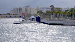 Pan to waterfront park in San Juan Puerto Rico Stock Footage
