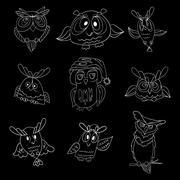 Set of nine funny owls Stock Illustration