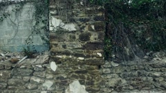 Panning Shot of an Old Wall at an Abandoned Factory Stock Footage