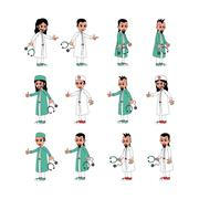 doctor surgeon cartoon set - stock illustration