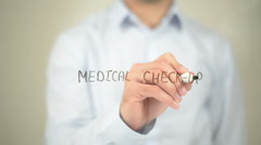 Medical Check Up , Man writing on transparent screen - stock footage