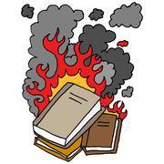 burning books cartoon - stock illustration