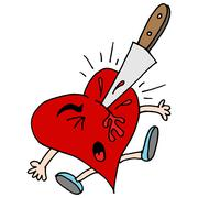 stabbed in the heart metaphor - stock illustration