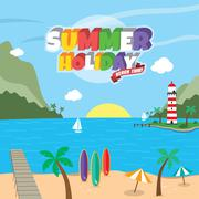 Summer holiday retro cartoon theme Stock Illustration