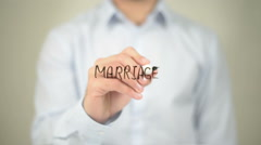 Marriage , Man writing on transparent screen Stock Footage