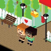 cartoon life couple lover isometric theme - stock illustration
