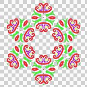 Multi-colored pattern. Green, violet, red, yellow colors. Six rays. - stock illustration