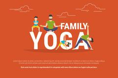 Concept illustration of family yoga - stock illustration