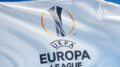 UEFA Europa League flag in slow motion seamlessly looped with alpha Stock Footage