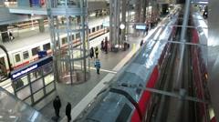 Berlin Hauptbahnhof, lower tracks - stock footage