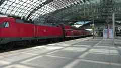 Regional train at Berlin Hauptbahnhof - stock footage