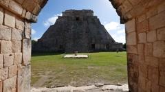 Mayan pyramid uxmal Stock Footage