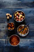 spices and nuts - stock photo