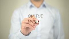 Online Market , Man writing on transparent screen Stock Footage