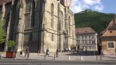 BRASOV, ROMANIA - MAY 07, 2016: Black Church, medieval religious construction. Stock Footage