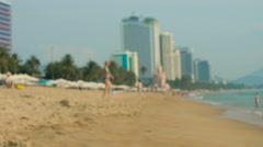 Beach and people on vacations, blured background  Stock Footage