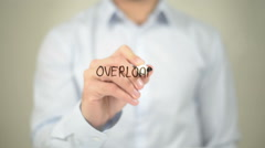 Overload , Man writing on transparent screen Stock Footage