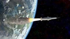Rocket flies into space Stock Footage