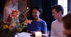 4k, A happy young couple looking at their menu's at a fancy restaurant. Slow mot Stock Footage