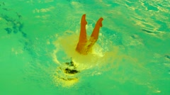Slow motion shot of synchronized woman swimmer from top angel of view dancing Stock Footage