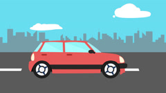 Colorful animation riding car. Red car goes on the street or highway loop Stock Footage