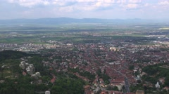 Ultra Hd 4K Aerial view Brasov medieval old town. Cloudy day, panorama Stock Footage