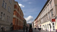 BRASOV, ROMANIA - MAY 07, 2016: Street of the republic is a center of nightlife Stock Footage