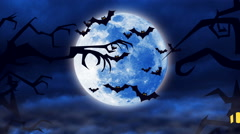 Flying bats against a bright moon background Stock Footage