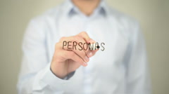 Personas , Man writing on transparent screen Stock Footage