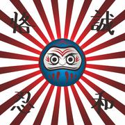 japan warrior doll - stock illustration