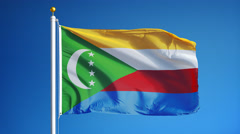 Comoros flag in slow motion seamlessly looped with alpha Stock Footage