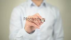 Procrastination , Man writing on transparent screen Stock Footage
