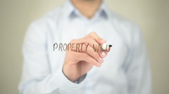Property Value , Man writing on transparent screen Stock Footage