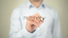 Prototyping , Man writing on transparent screen Stock Footage
