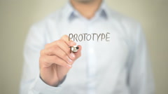 Protype Testing , Man writing on transparent screen Stock Footage