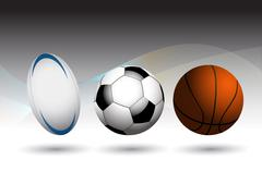 Rugby Football and Basketball background - stock illustration
