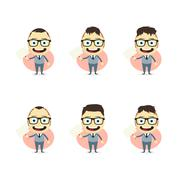 businessman cartoon set - stock illustration
