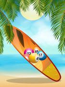 Tropica beach with bingo surfboard - stock illustration