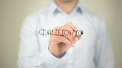 Qualification , Man writing on transparent screen Stock Footage