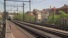 Passenger Train Elephant Drives Through The  European City in Prague Stock Footage