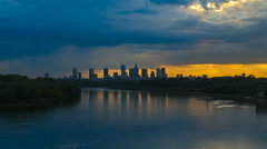 Timelapse with Cityscape of Warsaw City Stock Footage