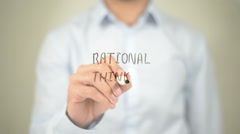 Rational Thinking , Man writing on transparent screen Stock Footage