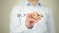 Reality Check Ahead, Man Writing on Transparent Screen Stock Footage