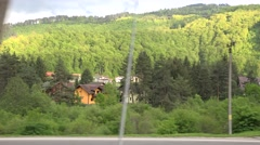 Romanian mountain landscape from train window, 4k, UHD - stock footage